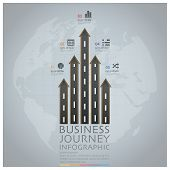 Business Journey With Global Road And Street Arrow Infographic Diagram