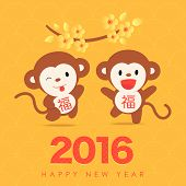 2016 Chinese New Year - Greeting card design - Year of Monkey