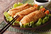 Fried Spring Rolls On A Plate And Chopsticks Closeup. Horizontal