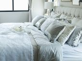 White And Grey Pillow On Bed