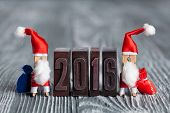 Clothespin Two Santa Claus and 2016 vintage letterpress