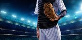 stock photo of hitter  - Professional baseball players on the grand arena in night - JPG