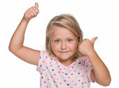 Blonde Little Girl Holds Her Thumbs Up