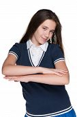 Cheerful Teen Girl Against The White