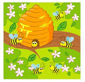 Cartoon vector beehive