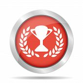 Trophy And Awards Icon On Red Background. Vector Illustration.
