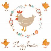Cute Easter card with chicken and chicks