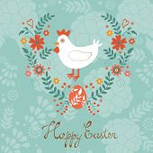 Cute Easter card with chicken in floral wreath