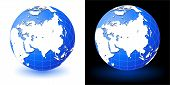 stock photo of earth structure  - Illustration of earth globe on white and black backgrounds with glow shadow - JPG
