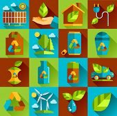 Ecology and waste flat icons set of trash recycling conservation isolated vector