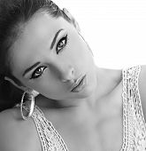 Beautiful Makeup Female Model Posing. Black And White Portrait