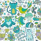 Vector Seamless Pattern, Doodling Animals Design. Hand Draw . Kids Illustration, Funny Cartoon  In V
