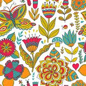 Ornate Floral Seamless Texture, Endless Pattern With Flowers