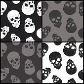 Set Of Seamless Backgrounds With Skulls