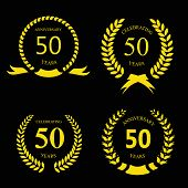 stock photo of 50th  - 50 fifty  years anniversary signs   laurel gold wreath set - JPG