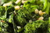 image of sauteed  - Homemade Sauteed Green Broccoli Rabe with Garlic and Nuts - JPG
