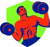 Strongman Crossfit Lifting Dumbbells Shield Retro