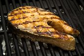 salmon fish steak on the grill