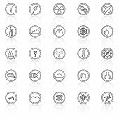 Warning Sign Line Icons With Reflect On White Background