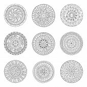 stock photo of lace  - Round geometric ornaments set of had drawn doodle mandalas - JPG