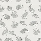 Seamless pattern with hedgehog, squirrel