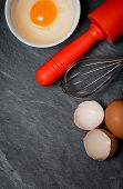 Baking Ingredients (eggs, Eggshell And Rolling Pin)