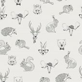 Seamless pattern with wild animals