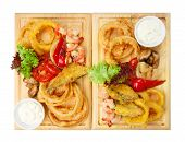 Restaurant Food - Roasted Seafood With Grilled Vegetables Assortment Served On Wooden Board