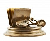stock photo of trombone  - Paper and card metal holder as a cello - JPG