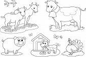 stock photo of bird-dog  - Set of coloring farm animals for children - JPG