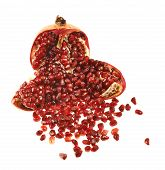 Opened pomegranate fruit isolated