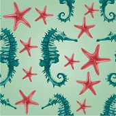 stock photo of seahorse  - Seamless texture seahorse and starfish background marine life vector illustration - JPG