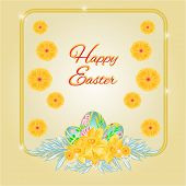 Frame Easter Eggs And Daffodils Vector