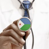 Stethoscope With National Flag Conceptual Series - Djibouti