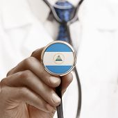 Stethoscope With National Flag Conceptual Series - Nicaragua