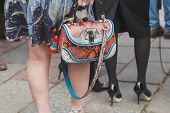 Detail Of A Bag Outside Gucci Fashion Show Building For Milan Women's Fashion Week 2015
