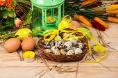 Quail And Chicken Eggs In A Basket And A Candlestick With Candles, Spring Flower
