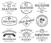 Seafood Labels And Badges Vol. 2 Black On White