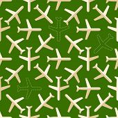 Flat styled seamless pattern with missing planes on the ground