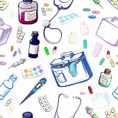 Seamless Set Of Objects Symbolizing Medicine Made In The Thumbnail Style