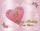 picture of sweet sixteen  - Illustration composition of pink heart graphic with roses and ribbons for sweet 16 birthday party card or invitation with gold text - JPG