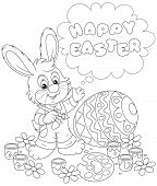 stock photo of cony  - Little rabbit and a colorfully painted Easter egg - JPG