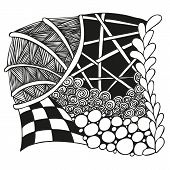 Abstract monochrome zentangle ornament
