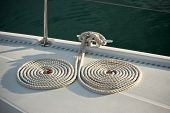 Nautical Mooring Ropes On A Boat