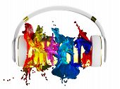 explosion of color paint from the headphones. blasted word music. each color is assigned path. the o