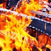 picture of ember  - Burning down fire with Last embers and ashes - JPG