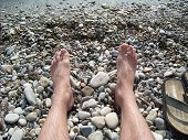Relax On The Beach Of Pebbles On The Sea