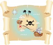 picture of treasure map  - Grunge pirate map isolated on a white background - JPG