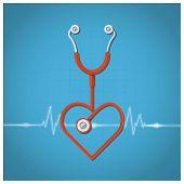 Heart Shape Stethoscope Valentine's Day Background