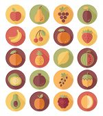 Fruits Flat Icon With Long Shadow